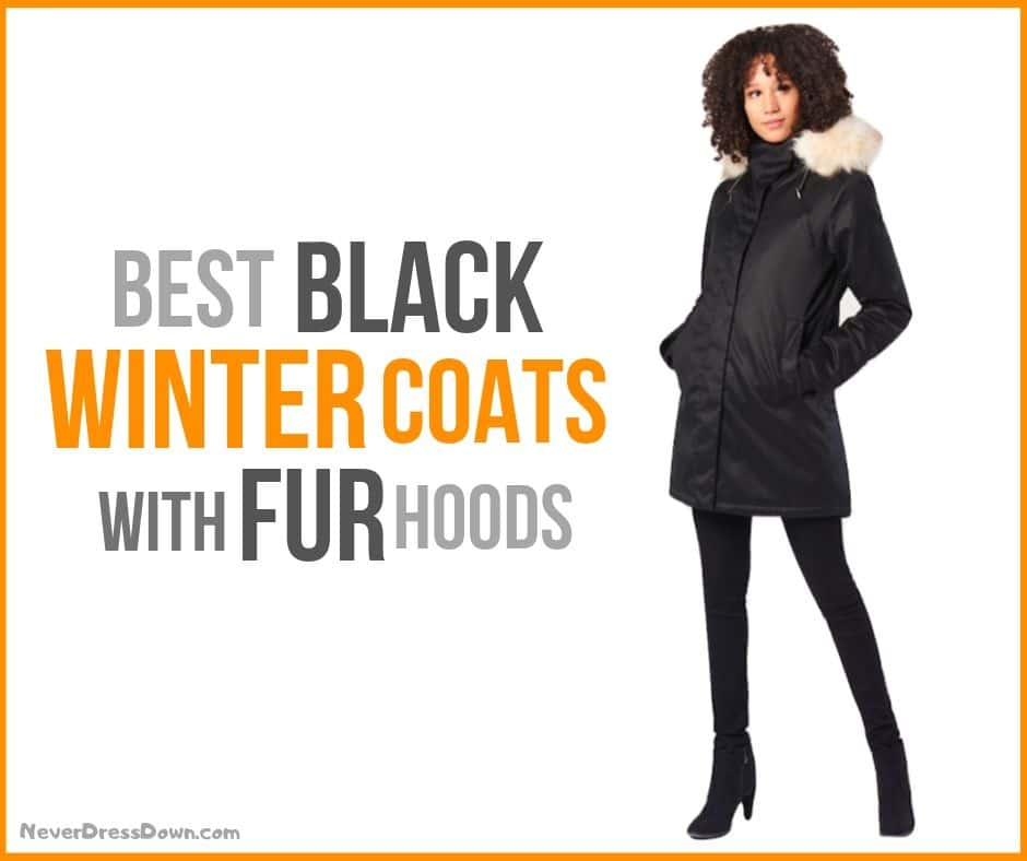 Women's Black Winter Coats with Fur Hoods